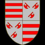 Ecartelé: aux 1 et 4 d'argent à trois fasces de gueules (Croy), aux 2 et 3 d'argent à trois doloires de gueules, les deux du chef adossées (Renty).