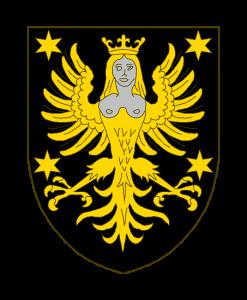 De sable à la harpie couronnée d'or, les seins et la tête d'argent, accompagnée de 4 étoiles à six rais d'or.