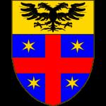 D'azur à la croix cousue de gueules cantonnée de quatre étoiles à six rais d'or, au chef du même chargé d'une aigle éployée de sable.