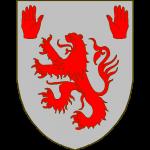 D'argent au lion de gueules, accompagné dans les cantons du chef d'une main dextre et d'une main sénestre du même.