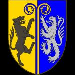 Parti d'or et d'azur à deux crosses adossées de l'un en l'autre mouvant de la pointe et brochant sur la partition les crosses soutenues à dextre par un loup rampant contourné au naturel et à senestre par un lion d'argent