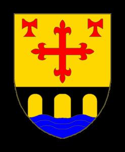 D'or à la croix fleurdelisée de gueules accostée en chef de deux béquilles de Saint Antoine du même et accompagnée en pointe d'un pont de trois arches de sable mouvant de flancs posé sur une rivière d'azur mouvant de la pointe