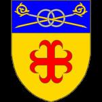 D'or à la croix ancrée de gueules au chef d'azur chargé de deux crosses d'abbé d'or garnes d'argent affrontées et posées en sautoir liées par deux annelets entrelacés d'argent