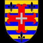 Burelé d'or et d'azur à la croix ancrée de gueules, chargé d'une croix alésée d'argent et accompagnée de trois fleurs de lis de sable, deux en chef, une en pointe