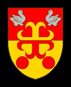 Coupé de gueules et d'or à la croix ancrée de l'un en l'autre cantonnée en chef de deux merlettes affrontées d'argent en pointe de deux tourteaux de gueules