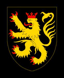 De sable au lion d'or, armé, lampassé et couronné de gueules.