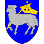 D'azur à l'agneau d'argent tenant une croix à banderole d'or à la balance de sable