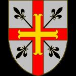 D'argent à deux sceptres doublement fleurdelisés de sable posés en sautoir à la croix de gueules brochant chargée d'une croix ancrée d'or