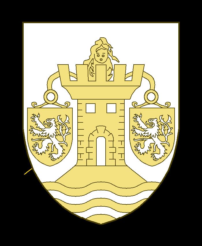 Une tour crénelée posée sur une rivière et accostée de deux écussons chargés d'un lion la queue fourchue et passée en sautoir lesdits écussons pendant de deux arceaux issant d'entre les créneaux de la tour