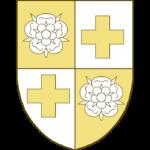 Écartelé aux I et IV une rose, aux Il et III une croix alésée.