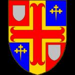 Ecartelé de gueules et d'azur à la croix d'or brochant, surchargée d'une croix ancrée de gueules cantonée aux I et IV d'un écusson d'argent, aux II et III d'une croisette recroisettée au pied fiché d'or