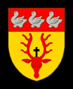 D'or au rencontre de cerf de gueules, surmonté d'une croix latine alésée de sable; au chef de gueules chargé de trois merlettes d'argent