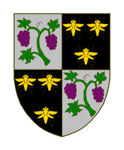 Écartelé: aux I et IV d'argent à une branche de vigne garnie de feuilles de sinople et de grappes de pourpre, aux II et III de sable à trois abeilles d'or.
