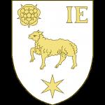 Un agneau passant, accompagné en chef, à dextre, d'une rose, à sénestre des lettres I E, en pointe d'une étoile à six rais.