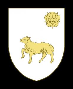 Un agneau passant, accompagné en chef à sénestre d'une rose.