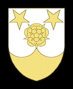 Une rose en abîme accompagnée en chef de deux étoiles à cinq rais renversées, la pointe chapée-ployée.