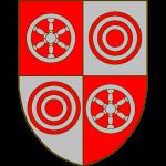 écartelé au 1 et 4 de gueules à une roue à 6 rais d'argent au 2 et 3 d'argent à un tourteau de gueules enclos de 2 annelets concentriques du même.