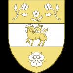 Tiercé en fasce au I à trois roses tigées et feuillées, les deux du chef affrontées, au II un agneau pascal, au III une rose.