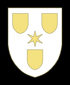 Trois écussons accompagnés en abîme d'une étoile à six rais.