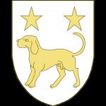 Un chien en arrêt, accompagné en chef de deux étoiles.