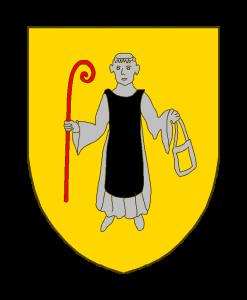 D'or à un moine cistercien habillé du costume de son ordre, le devant de sable, le reste d'argent, tenant de la dextre une crosse de gueules, de la sénestre une bourse à laquelle est suspendue un bréviaire orné d'or.