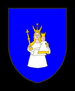 D'azur à la Vierge Consolatrice des Affligés, patronne du Luxembourg, au naturel.