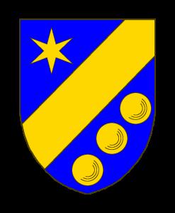 D'azur à la barre d'or, accompagnée en chef d'une étoile à six rais d'or, en pointe de trois boules d'argent rangées en barre.