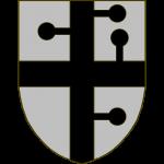 D'argent à la croix de sable, ornée de quatre petits bâtons pommetés du même, qui font des angles droits avec les branches de la croix: une à dextre en bas et une à senestre en haut du montant supérieur, le troisième sur le bord supérieur du bras senestre, et le quatrième sur le milieu du côté senestre du montant inférieur.