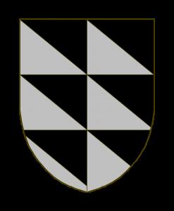 Trianglé de sable et d'argent, au moyen de deux traits verticaux, de deux traits horizontaux, et de cinq traits diagonaux de dextre à senestre