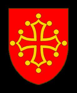 De gueules à la croix clechée, vidée et pommetée d'or (dite croix de Toulouse).