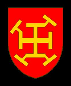 De gueules à la croix potencée, repotencée en bande à l'extrémité senestre du bout supérieur, en barre au bras dextre de la croix, et en bande et en barre aux deux cotés du pied de la croix, le tout d'or.