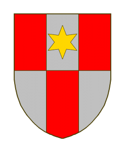 Palé contre-palé de gueules et d'argent, de trois pièces, le deuxième compartiment chargé d'une étoile d'or.