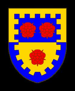 Coupé d'azur sur or, à trois roses de gueules, 2 sur l'azur et 1 sur l'or, à la bordure crénelée de l'un en l'autre.