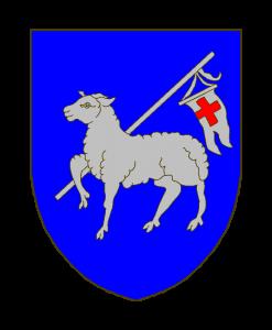 D'azur à un agneau pascal passant d'argent, la banderole chargée d'une croix de gueules.