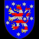 D'azur au lion burelé de huit pièces de gueules et d'argent, armé et couronné d'or, accompagné de huit étoiles d'argent.