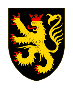 De sable au lion d'or, armé, lampassé et couronné de gueules