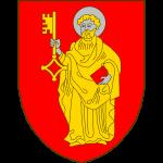 De gueules au Saint Pierre habilé d'or, nimbé, tenant dans sa main dextre une clé d'or, le panneton vers la dextre, et dans sa main senestre un livre de gueules.