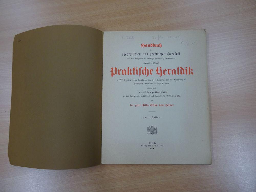 Exemplar des zweiten Teils von Hefners Handbuch erworben