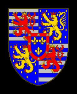 Écartelé, aux I et IV de Luxembourg qui est un burelé d'argent et d'azur, au lion de gueules, la queue fourchue et passée en sautoir, armé, lampassé et couronné d'or, aux II et III de Nassau qui est d'azur semé de billettes d'or, au lion couronné d'or, armé et lampassé de gueules, sur le tout en coeur de Bourbon de Parme qui est d'azur à trois (deux, une) fleurs de lis d'or à la bordure de gueules chargée de huit coquilles d'argent posées en orle.