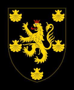 De sable au lion d'or, lampassé et couronné de gueules, accompagné de cinq coquilles du second, une à chaque coin du chef, une à chaque flanc et une en pointe.