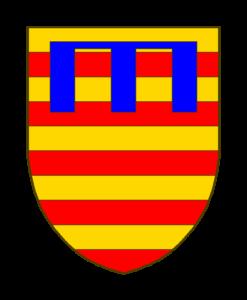 Blason: Burelé d'or et de gueules de dix pièces, au lambel d'azur à trois pendants à l'ancienne brochants les quatre premières burelles.