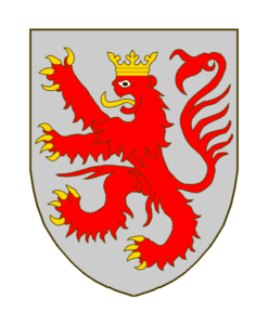 Blason:D'argent au lion de gueules, armé, lampassé et couronné d'or.