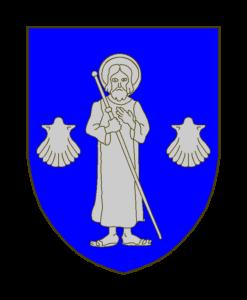 Blason: D'azur au saint Jacques le Majeur accosté de deux coquilles, posées au niveau des genoux, le tout d'argent.