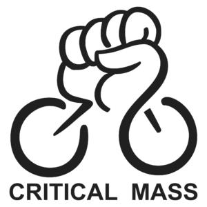 Symbol, eine Faust die aus zwei Rädern rausragt, unten der Schrifzug Critical mass