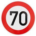 Verkehrszeichen: Maximalgeschwindigkeit 70