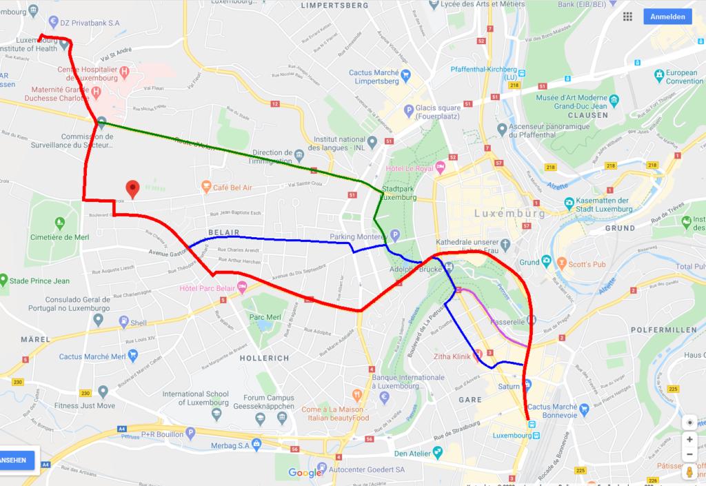 Screenshot von Googlemaps, Stadtplan Luxemburg Stadt mit eingezeichneter Route und drei Alternativen
