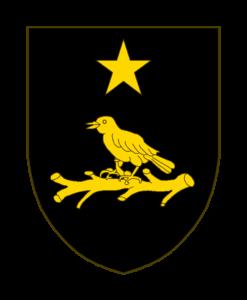 De sable à un oiseau d'or sur un écot du même, accompagné d'une étoile d'or en chef